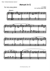 Minuet in G for very easy piano