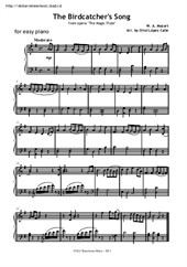 The Birdcatcher's song from The Magic Flute (for easy piano)